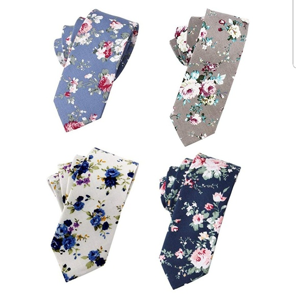 Other - Floral Skinny Tie Pack of 4